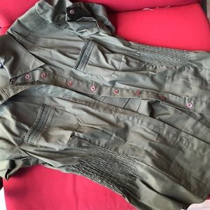 Bebe military green button down